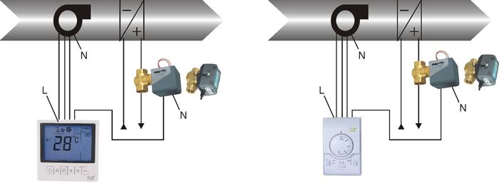 电动阀控制:电动阀的动作受温控器的直接控制,当电动阀得电时