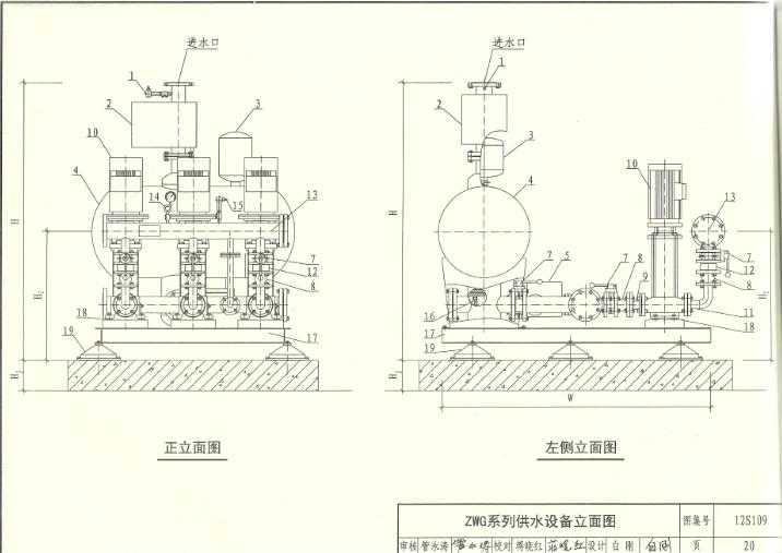 ZWG无负压供水设备立面图