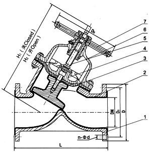 G45J法蘭直流式襯膠隔膜閥